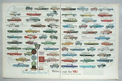 Ford Family of Cars Double-Page PRINT AD - 1958