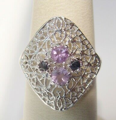 Vintage CNA Sterling Silver Filigree Pink Stone Amethyst & Sapphire Ring SZ 6