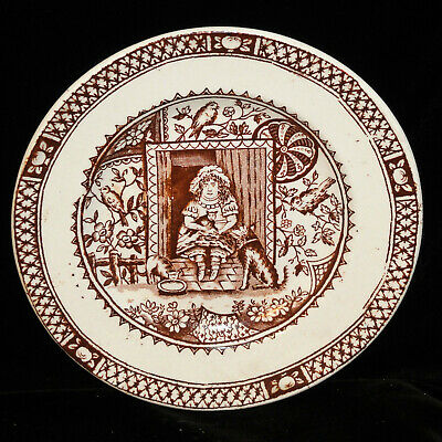 Staffordshire Childs Little Mae Plate Brown Dog Cat Pets Allerton 1890