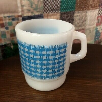Fire King Coffee Anchor Hocking Mug Gingham Check Blue Stacking Cup