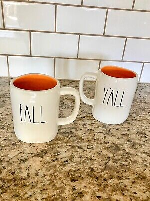 Rae Dunn FALL Y'ALL mug set of 2 Autumn Halloween Thanksgiving New double sided