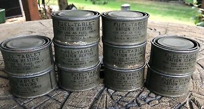 10 WW2 Military Fuel Tablet Ration Heating Canisters