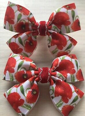 2 Girls Lovely Poppy/ Remembrance Day Handmade Ribbon Hair Bows / Clasps / Clips