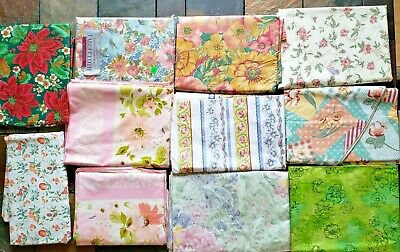 Vintage Lot of Floral Tablecloths Flannel Back Assorted Shapes Use or Cutters