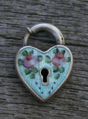 VINTAGE STERLING PUFFY HEART PADLOCK -Lampl Blue Guilloche with Pink Roses
