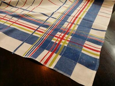 Vintage Plaid Tablecloth Linen Blue Red Green White 50x51