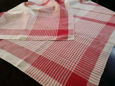 Vintage Plaid Tablecloth Linen Red White 52x54
