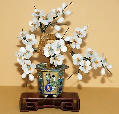 Old Item ~ White Jade Tree ~ Gold Gilt Champleve/Cloisonne Base ~ w/Old Stand