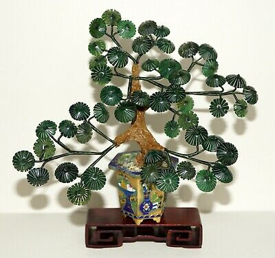 Old Item-Spinach Green Jade Tree ~Gold Gilt Champleve Cloisonne Base - Old Stand