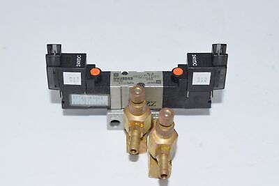 SMC NVJ3243 PNEUMATIC DOUBLE SOLENOID VALVE 24VDC Manifold Block Fittings