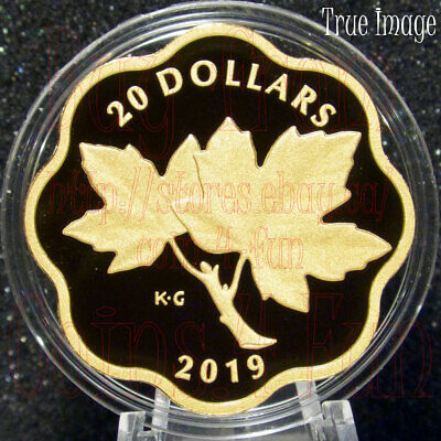 2019 Masters Club Iconic Maple Leaves $20 Scallop Pure Silver Gold-Plated Coin