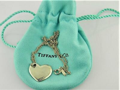 Tiffany & Co. Sterling Silver Vintage Pierced Heart Hearts Necklace w Pouch