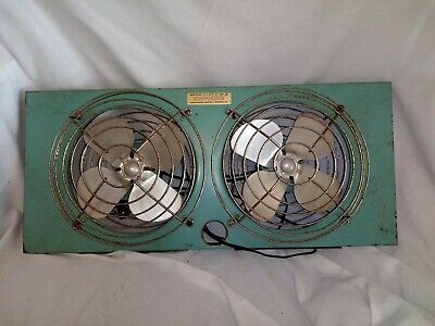 Working Vintage Mid- Century McGraw Edison Eskimo Turquoise Double Window Fan
