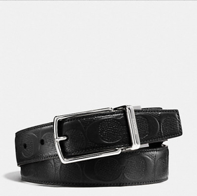 NEW Coach F55158 Modern Harness Reversible Signature Cut to Size BLACK $150