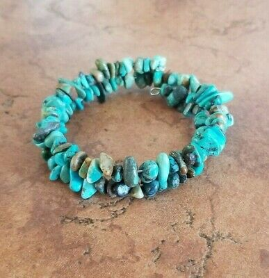 Native Indian Hand Strung Olive Green Turquoise Stone Bracelet by Yazzie