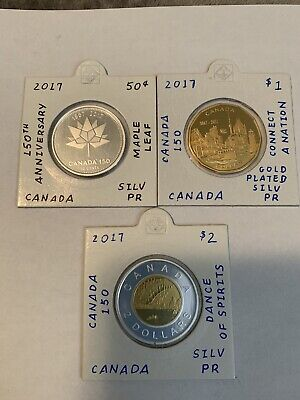 2017 Canada 150th Anniversary 50c / Loonie / Twoonie Pure Silver Coins (3)