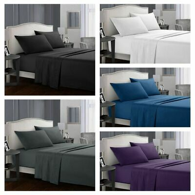 Luxury SOFT Flat & Fitted Bed Sheet Set Bedding Single/Double/Queen/King Size AU