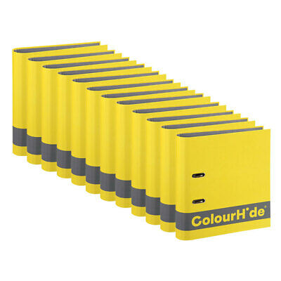 12x ColourHide A4 70mm 375 Sheets Silky Touch Lever Arch File/Paper Organiser YL