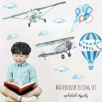 Hot Air Balloon Kids Airplane Wall Sticker Baby Rooms Watercolor Home Decor