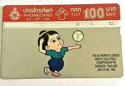 RARE Year 1995 Collectible Used Phone Card Thailand Volleyball Lover Collection