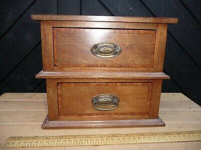 Antique wooden 2 drawer unit - Collectors drawers /Hall table tidy / Keys /Phone
