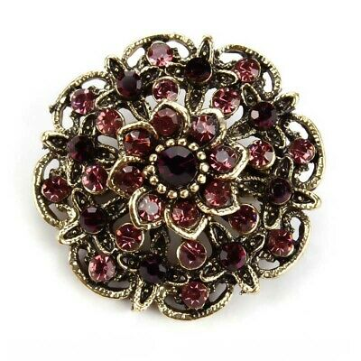 BROOCH Small Vintage Wine/Gold Color Rhinestone Flower Antique Brooch Pin Gift