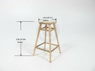 Miniature 1:12 Scale The Helen's Wooden Stool For Doll House [Unfinished]