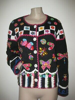 Vintage 80s Beaded Jeweled Butterfly Floral Cardigan Sweater M Petite PM MP