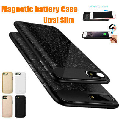 Slim Magnetic Charger Case Backup Battery Cover Power Bank For iPhone 6 6S 7 8