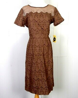vtg 40s 50s Syd of Chicago NOS deadstock Brown Embroidered Dress rockabilly 14