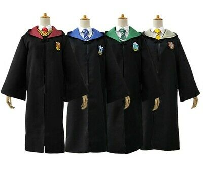 Harry Potter Robe Costume Party Cosplay Gryffindor Slytherin Scarf LED Wand