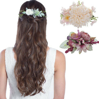 Women Lady Flower Hair Comb Pins Slide Bridal Fabric Wedding Bride Veil Hairpin