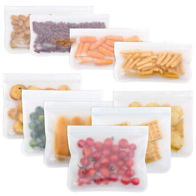 1/5/6/10Pcs Kitchen Fresh Zip lock Bag Reusable Silicone Food Freezer Storage