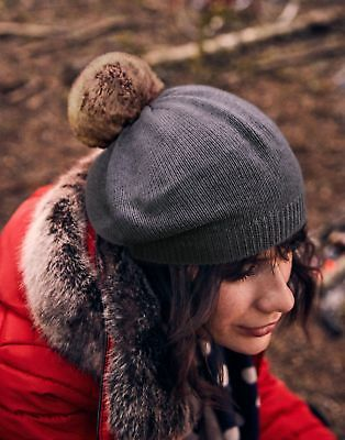 Joules Womens Cosybridge Knitted Beret With Pop A Pom in CHARCOAL in One Size