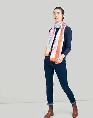 Joules Womens Hampton Large Printed Scarf in SILVER FLORAL in One Size