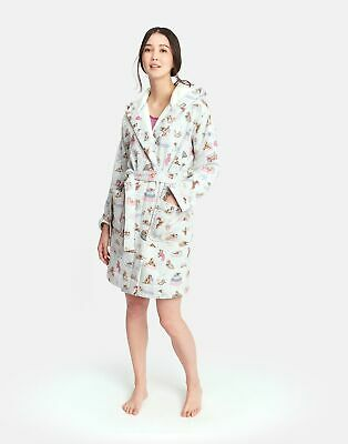 Joules Womens Idlewhile Printed Dressing Gown in GREY SLEEPING DOGS Size L/XL