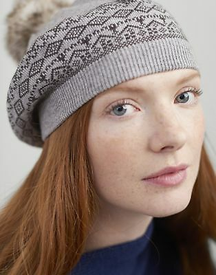 Joules Women Perbury   Fairisle Knitted Beret With A Pop A Pom in  in One Size