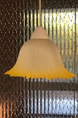 1960s Pendant Lamp French Light Ceiling Glass Vintage Frilled Lampshade Yellow