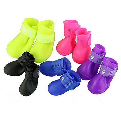 4Pcs Lovely Waterproof Anti-Slip Rain Boots Shoes for Cat Dog Puppy Pet Precious