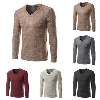 Men Solid Color Long Sleeve V Neck Warm Knitted Sweater Pullover Tops Base Shirt