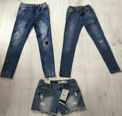 Primark River Island New Look Girls Jeans & Shorts Bundle Age 11 Years