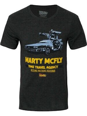 Back To The Future T-Shirt Marty McFly Travel Agency Homme Noir