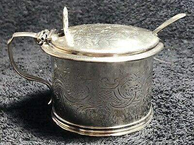 Victorian Sterling Silver Mustard Pot- Blue Inley And Spoon