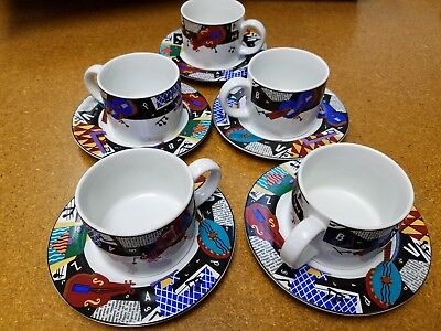 5 cup & saucer sets ~  Sakura COMPOSITION #5 Deborah Mallow Music Jazz Musician