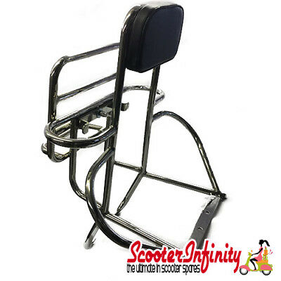 Carrier/Rack Rear 4in1 (with Backrest) (Chrome) (Vespa PX 80-200 /PE/Lusso/T5)