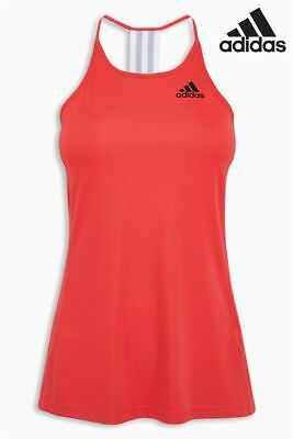 NEW Adidas Climalite  Performance Step Up Tank Orange White Womens Girls Size XS