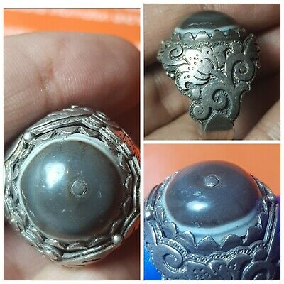 Tibet old goat eye agate bead set on pure 925 solid silver ring