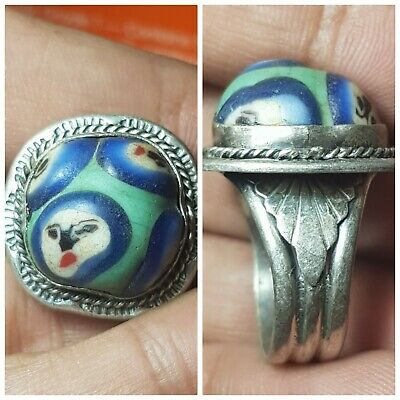Very nice old face glass bead set on pure 925 solid silver ring