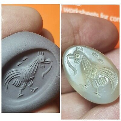 Fantastic medieval old agate intaglio stamp seal bead