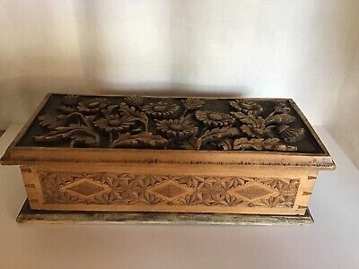 Carved Profusely  Antique Wooden Box  /Chest
